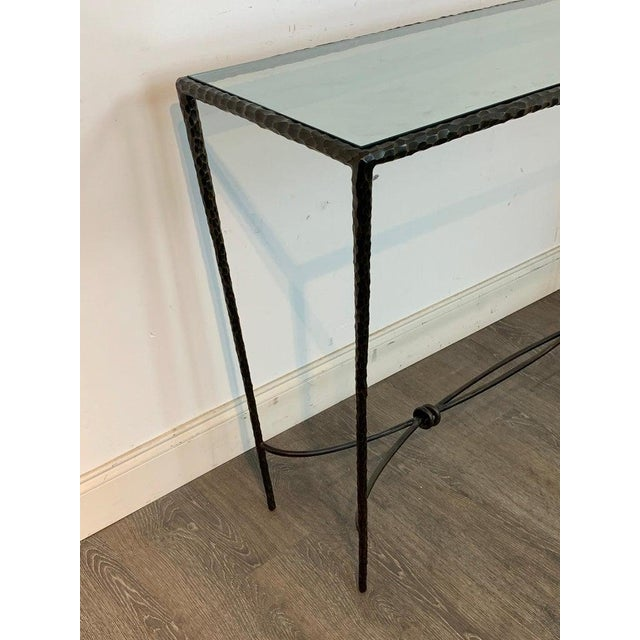 Late 20th Century French Modern Cast Bronze and Glass Console Table For Sale - Image 5 of 10