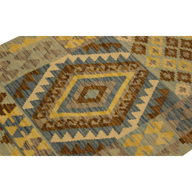 Contemporary Tribal Roseann Blue/Gray Hand-Woven Kilim Wool Rug -2'8 X 4'1 For Sale In New York - Image 6 of 8