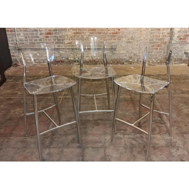 """Beautiful Designer Bar Stools set of 3 Lucite & Polished Steel size 18w x 18d x 42""""h seat height 29"""" A beautiful piece..."""
