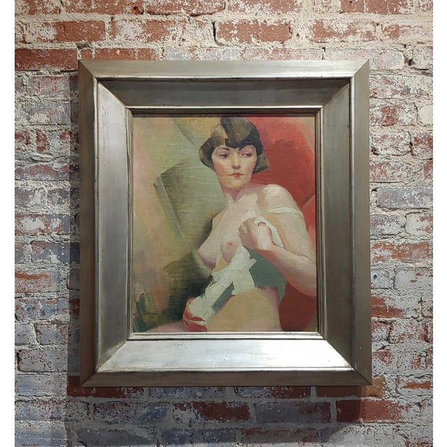 Reva Jackman -1927 Art Deco & Cubism Nude Female Portrait-Beautiful Oil Painting For Sale - Image 10 of 10