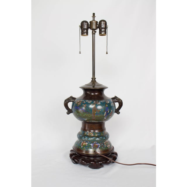 Restored Antique Champleve Table Lamp For Sale - Image 4 of 11