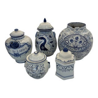 Antique Blue and White Deruta Pottery - Set of 5 For Sale