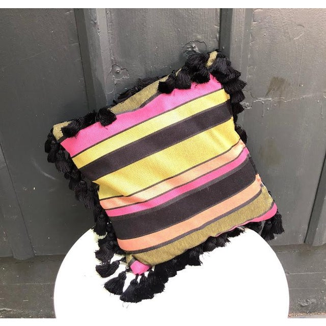 Mid-Century Modern Black & Multicolored Striped Tasseled Throw Pillow For Sale - Image 3 of 5