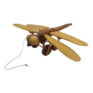 1970s Vintage William Huntley Wooden Flying Dragonfly Pull Toy For Sale