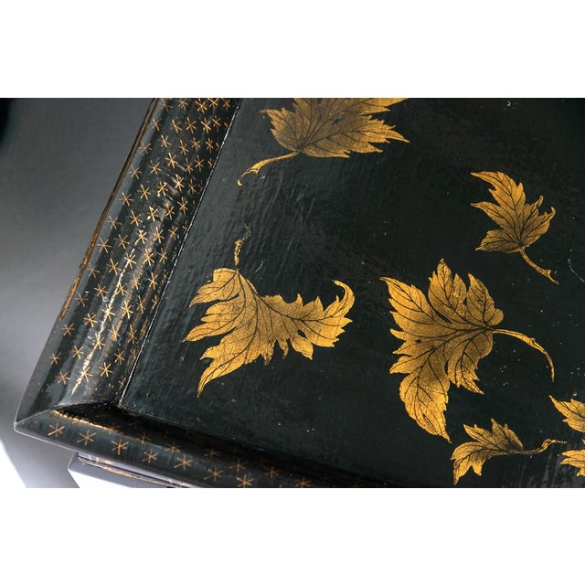Mid 20th Century Asian Black Lacquer Wood Cocktail Table With Hand Painted Gold Florals For Sale - Image 5 of 13
