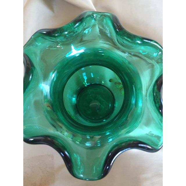 Fenton Emerald Green Glass Hand Painted Vase For Sale In Palm Springs - Image 6 of 11