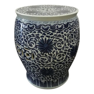 Antique Chinese Blue & White Garden Stool For Sale