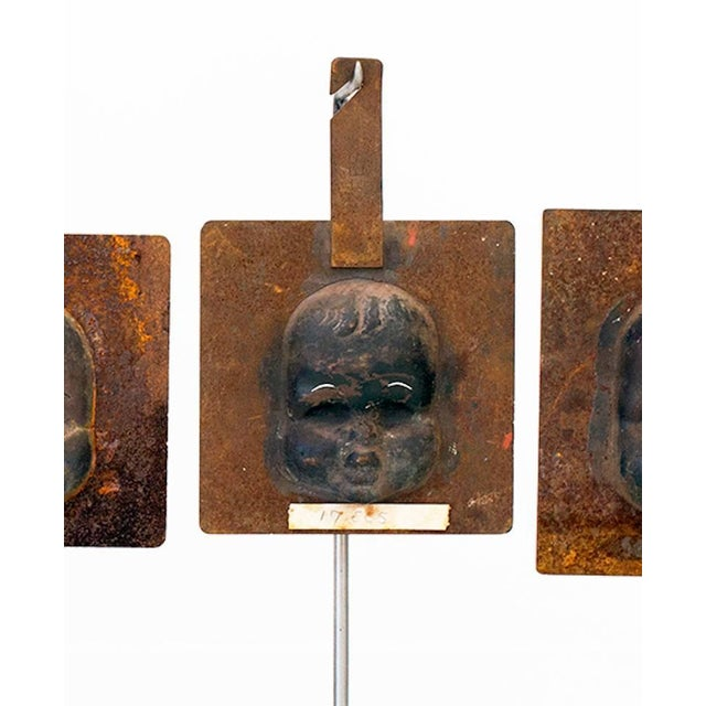 Abstract Decorative Metal Doll Head Molds Objet de Virtu on Custom Stands For Sale - Image 3 of 6