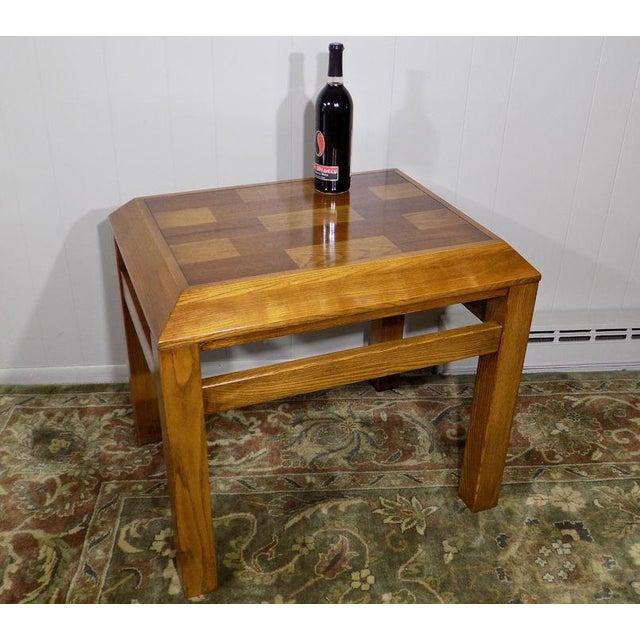 Lane Furniture Lane Oak & Walnut Parquet Top End Table For Sale - Image 4 of 12