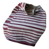 Image of Antique Folk Art Hand Woven Red Striped Hutsul Sack Textile Pillow Cover For Sale