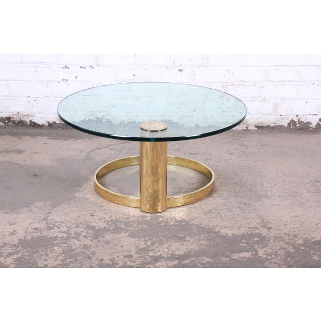 Metal Leon Rosen for Pace Collection Cantilevered Brass and Glass Coffee Table For Sale - Image 7 of 9