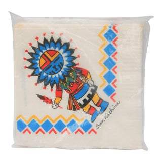 Vintage Monogram of California San Francisco Sun Kachina Paper Napkins - Set of 20 For Sale