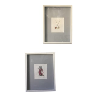 Late 20th Century Golf Motif Colored Etchings by Martha Hinson - a Pair For Sale