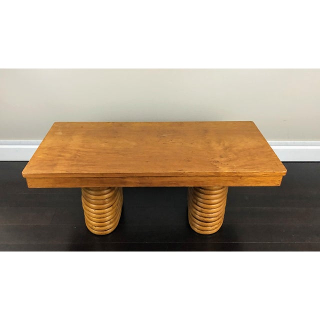 Mid-Century Paul Frankl Pretzel Rattan Coffee Table For Sale In Washington DC - Image 6 of 9