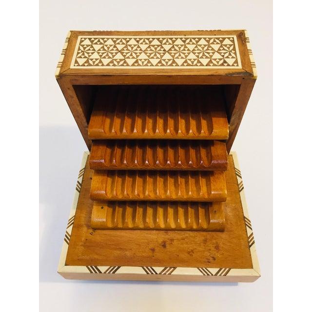 Vintage Moorish Spanish Granada Mother of Pearl Inlay Cigarettes Music Box For Sale - Image 10 of 13