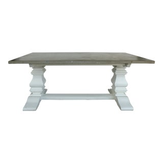 Polished Concrete Slab Dining Table With Painted Wood Base For Sale