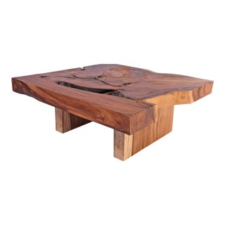 Organic Modern One Slab Square Living Edge Coffee Table For Sale