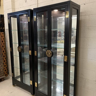 American of Martinsville Black Lacquer China Cabinets -A Pair Preview