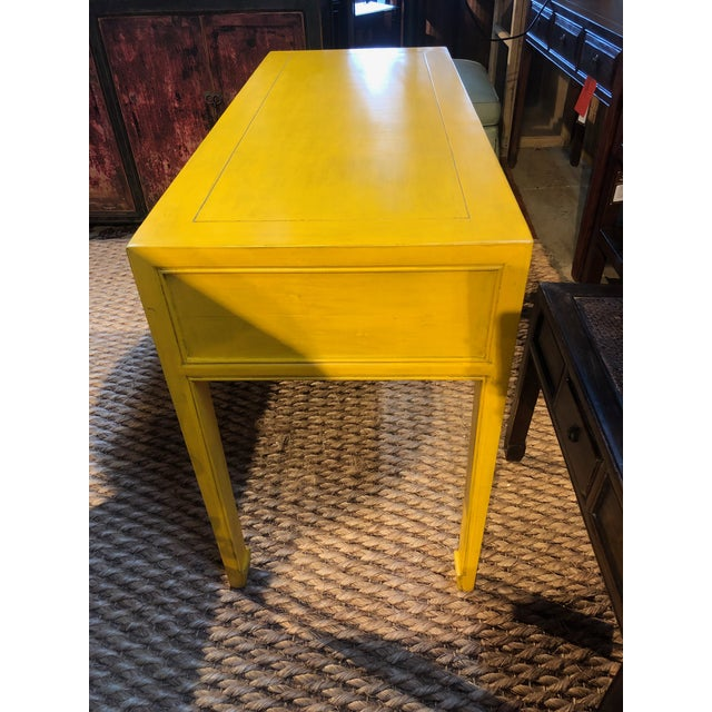 2010s Ming Style Yellow Writing Desk For Sale - Image 5 of 7