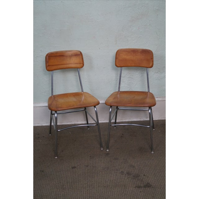 Heywood Wakefield Set of 4 Mid Century Chrome Frame Side Chairs AGE/COUNTRY OF ORIGIN: Approx 60 years, America...