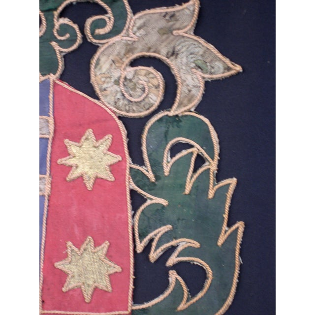 19th Century Italian Marquee Coat of Arms Armorial Embroidery For Sale - Image 4 of 8