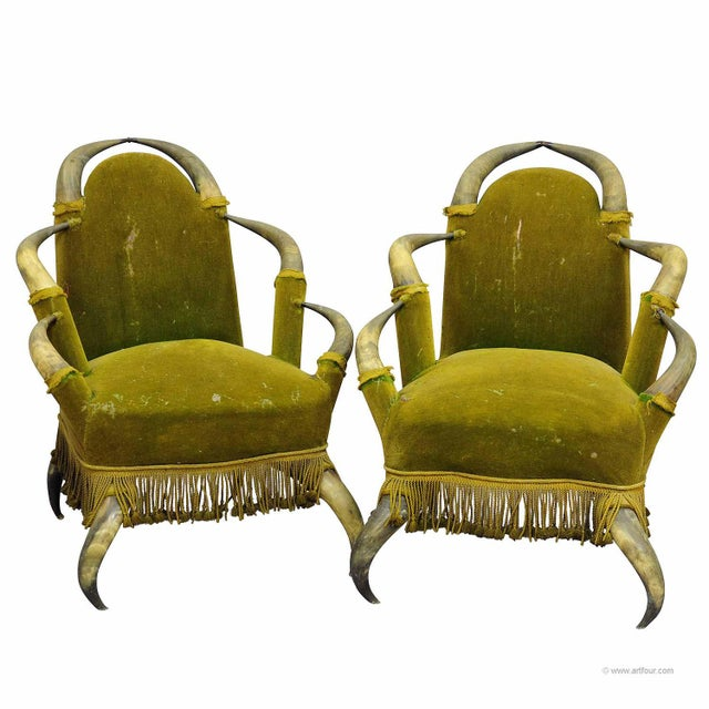 A Pair Antique Bull Horn Chairs Austria 1870 For Sale - Image 4 of 4