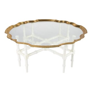 Lacquered Faux Bamboo and Brass Coffee Table For Sale