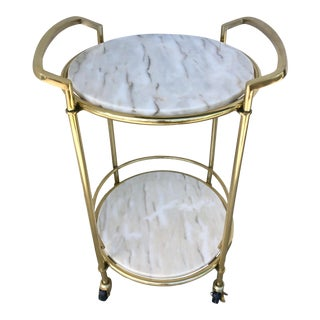 1970's Brass Cart With Marble Shelves For Sale
