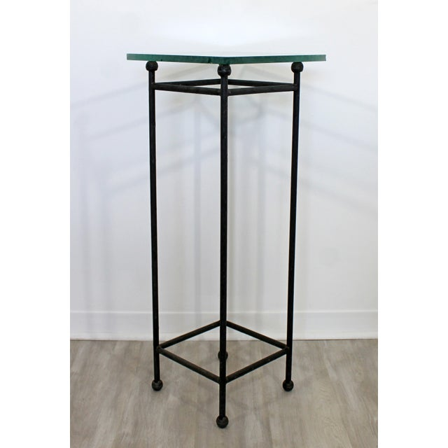 Contemporary Modern Square Steel & Frosted Glass Pedestal Display Stand 1980s For Sale - Image 4 of 7