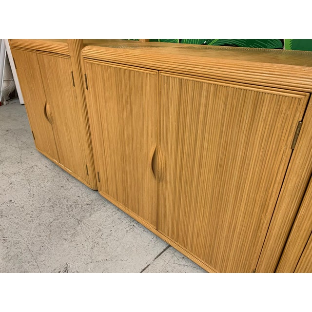 Wood Split Reed Rattan Wall Unit in the Manner of Gabriella Crespi For Sale - Image 7 of 13