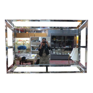 1950s Vintage Hollywood Regency Large Glass and Mirror Framed Mirror For Sale