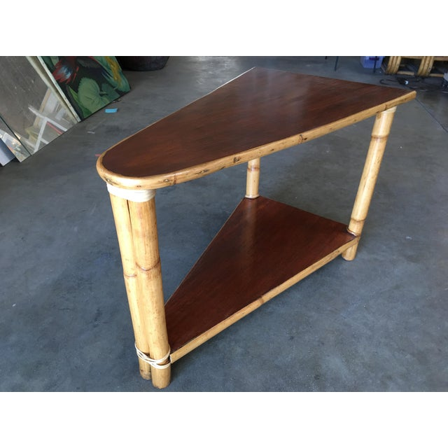 Restored Two-Strand Rattan Wedge Drinks Table With Two-Tier Mahogany Tops For Sale - Image 4 of 8