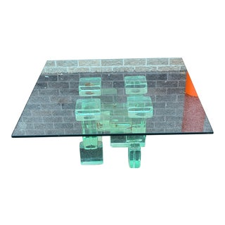 Vintage Contemporary Green Glass Block ~ Brick Base Coffee Table ~ 36 X 36 X 16 For Sale