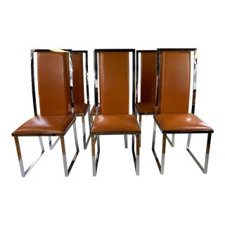 1970s Italchom Italian Leather & Chrome Chairs - Set of 6 For Sale