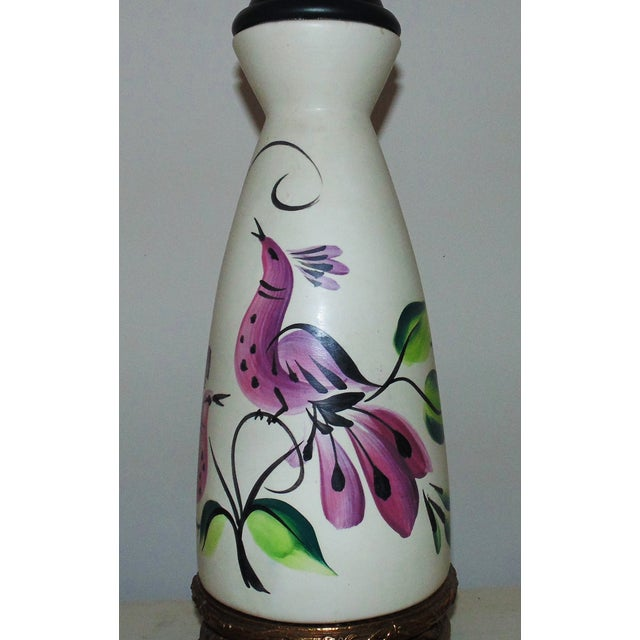 This is a rare set of Marc Bellaire table lamps. Vase form with birds. Mid century modern. Hand painted and signed as...