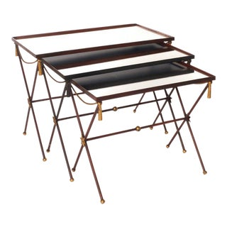 French Painted Mirrored Nesting Tables - Set of 3