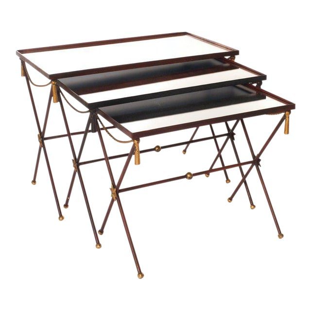 French Painted Mirrored Nesting Tables - Set of 3 - Image 1 of 6
