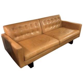 Mid-Century Modern Room & Board Cognac Leather Sofa For Sale