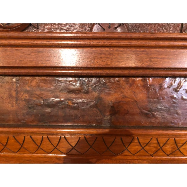 Antique Victorian Buffet With Burlwood and Marble Top For Sale - Image 9 of 12