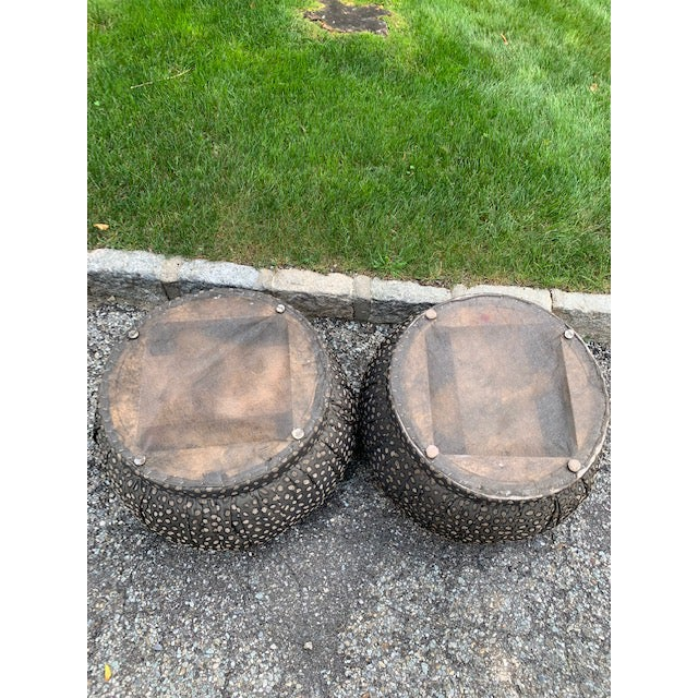 1980s Pair 80's Karl Springer Style Pouf Souffle Ottomans For Sale - Image 5 of 6