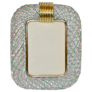 Venini 1970s Vintage Italian Green Rose Pink & Crystal Murano Glass Photo Frame For Sale