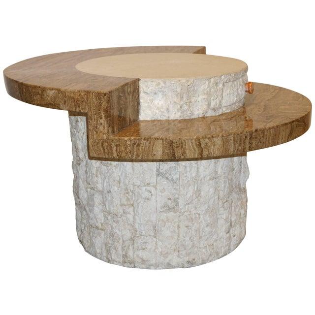 1970s Marzio Cecchi Italian Vintage White and Ochre Stone Round Side/Sofa Table For Sale - Image 12 of 12
