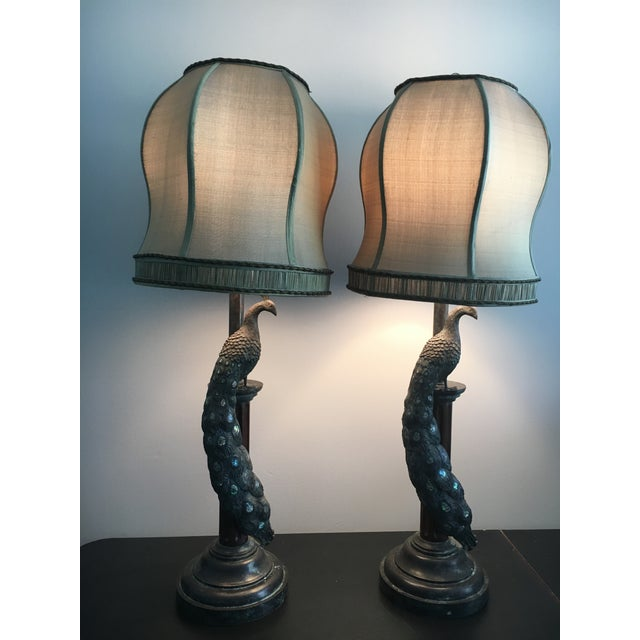 Maitland-Smith Peacock Table Lamps - a Pair - Image 2 of 7
