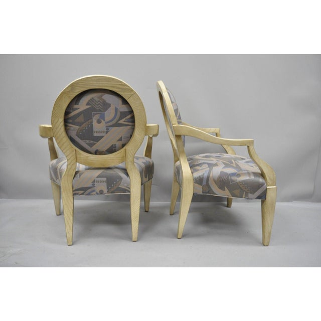 Late 20th Century Vintage John Hutton for Donghia Style Round Back Lounge Chairs- A Pair For Sale - Image 10 of 11