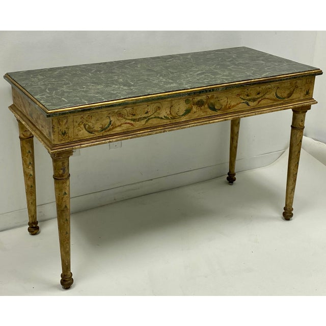 Pair of French Style Painted Marble Top Console Tables For Sale - Image 4 of 6