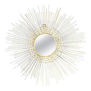 Beautiful Brutalist Sunburst Mirror Wall Sculpture For Sale