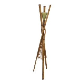 Vintage Rattan Floor Lamp in the Style of Paul Frankl For Sale