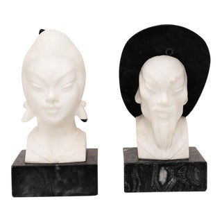 Vintage Chinoiserie Style Marble Busts - a Pair For Sale