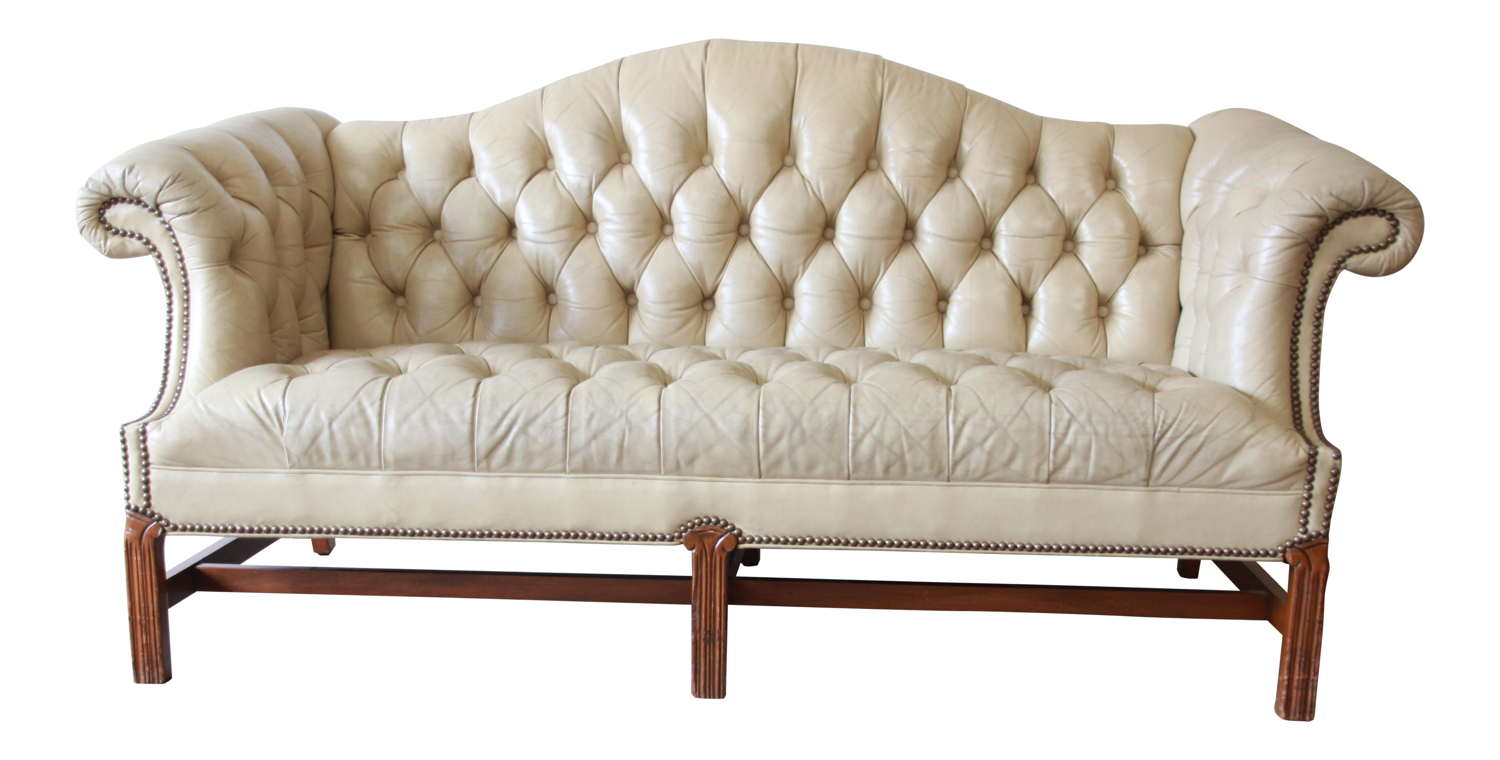 Vintage Tufted Tan Leather Chesterfield Sofa