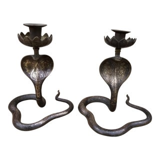 Indian Etched Brass Snake Candlesticks - a Pair